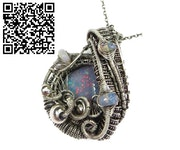 Australian Opal Wire-Wrapped Pendant with Ethiopian Welo Opals. Heather Jordan Jewelry