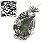 Moldavite Wire-Wrapped Pendant with Herkimer Diamonds. Heather Jordan Jewelry