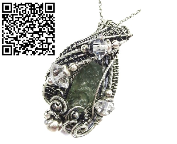 Moldavite Wire-Wrapped Pendant with Herkimer Diamonds. Heather Jordan Heather Jordan Jewelry