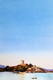 Coucher de soleil sur la tour de Figari.