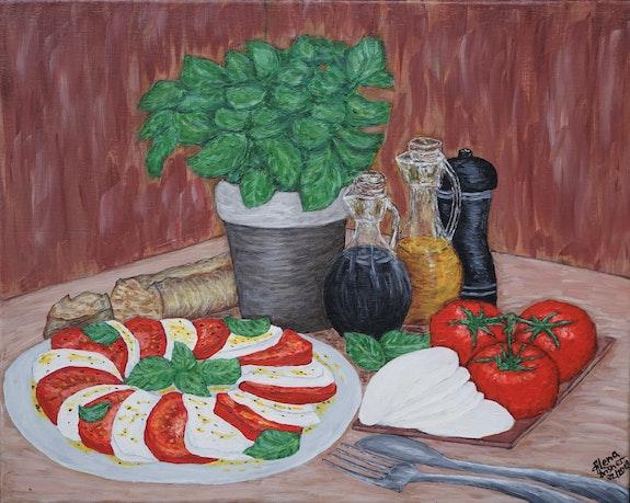 Assiette à la tomate mozzarella et basilic. Alena Drisner Alena Drisner
