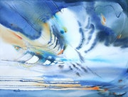 Painting-Abstraction-Watercolor «Wave to the soul».