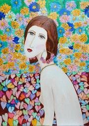 Mujer con flores.
