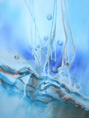 Painting-Abstraction-Watercolor «Pearls of rain».