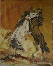Bataille de chevaux. Jean-Claude Geslain
