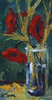 209-Flores acrílico-cartón tratado 31x25 cm.