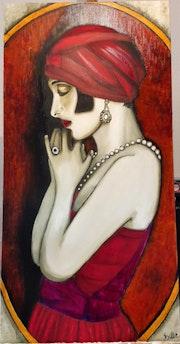 Années folles «La dame en rouge».