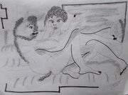 Bechernder minotaurus mit maedchen. Jamart