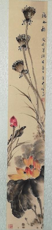 Fleurs delotus. Peinture