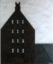 Casa de ladrillos negros. Oleo sobre lienzo.. Demonio - Yolanda Molina Brañas