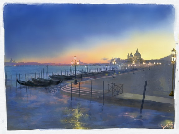 A fairy sunset in a lonely Venice. Fairy Tales Fairy Tales