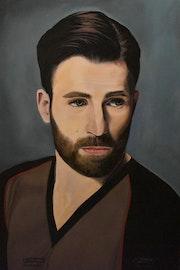 Captain America portrait, peinture a l'huile par Joky kamo.