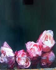 Cinque roses, rosenbild, ölfarben. Prunkblume