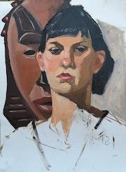 Frau mit Maske. Frank Hegemann