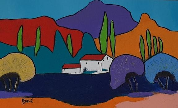 Paysage coloré.  Michèle Devinante