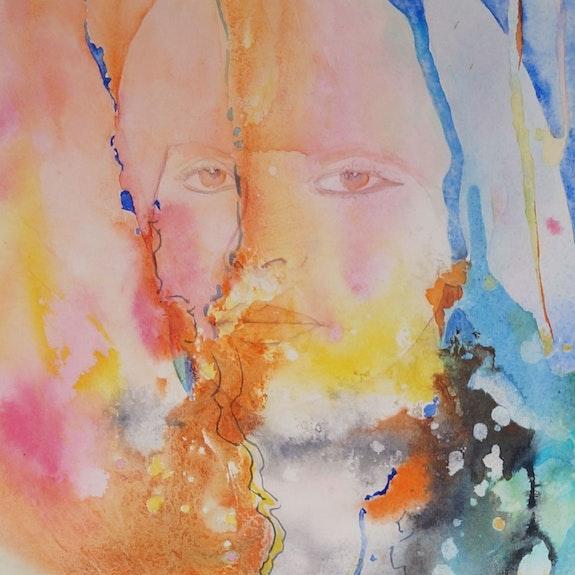 Peinture-Portrait-Aquarelle «Hommage à Véronique Wirbel». Annick Richard-Keller Annick Richard-Keller