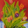 Tulips in Red Original Oil Painting. Anna Barnard