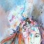 Peinture- Portrait-Aquarelle «Rêverie». Annick Richard-Keller