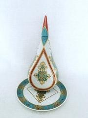 Venise Turquoise, ensemble bouteille porcelaine avec son bouchon stylisé et plat. Danielle Adjoubel