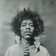 Jimi Hendrix portrait black and white 71*71 cm oil on canvas painting.. Juan Barco