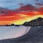 Coucher de soleil sur la plage de Banyuls/mer. Mimi