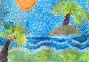 La playa Puntillismo a color. Nicolás Álvarez Estrada