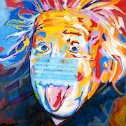 Einstein 19 - Albert Einstein e=mc2, custom acrylic painting.. Sam Schwartz