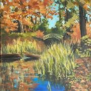 Herbstlicher Teich auf der Pfaueninsel.
