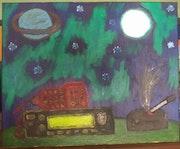 Luna, Saturno, y la Aurora Boreal..