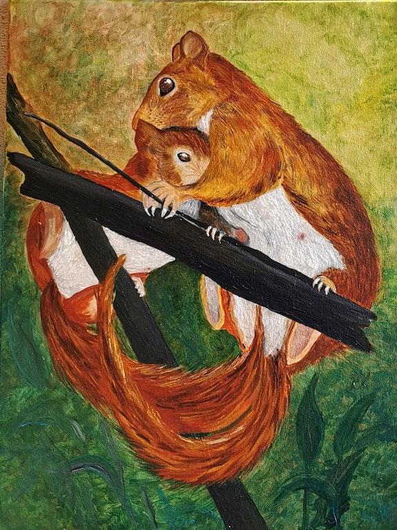 Maman écureuil et son petit. Tami Tami