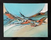 «Abstrait» avec cadre noir peint sur la toile.