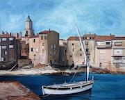 Saint Tropez d'antan :bateau dans le port.