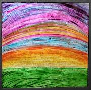- Arc en Ciel - 50x50 cm - peinture sur verre inversé -.