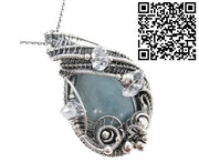 Celestite Wire-Wrapped Pendant with Herkimer Diamonds.