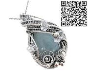 Celestite Wire-Wrapped Pendant with Herkimer Diamonds. Heather Jordan Jewelry