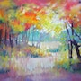A moment in summer is a large brightly coloured oil painting of a Sussex country.