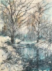 Le lac des saules plereurs sous la neige.