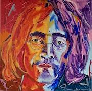 John Lennon, Mitgründer, Sänger und Gitarrist der brit. Rockband The Beatles.