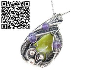 Lemon Jasper Wire-Wrapped Pendant with Amethyst.