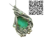 Chrysoprase Wire-Wrapped Pendant in Sterling Silver with Labradorite.