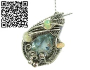 Aquamarine Wire-Wrapped Pendant with Ethiopian Welo Opals. Heather Jordan Jewelry