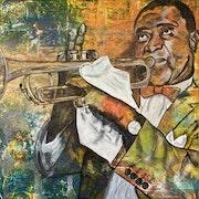 Louis Armstrong, amerikanischer Jazztrompeter, Sänger und Schauspieler.