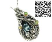 Black Freshwater Biwa Stick Pearl Pendant with Ethiopian Welo Opals. Heather Jordan Jewelry