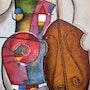 Violanchelo, músico, música, textura, colores, abstracto.. Roser Nou
