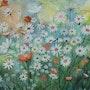 Saveurs de l'été, acrylique sur toile, abstraction florale, art contemporain. Cathy Ganty