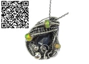 Blue Sapphire Wire-Wrapped Pendant with Ethiopian Welo Opals. Heather Jordan Jewelry