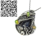 Blue Sapphire Wire-Wrapped Pendant with Ethiopian Welo Opals.