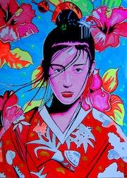 Geisha II. - Japanese style portrait - painting on canvas. Norbert Szük