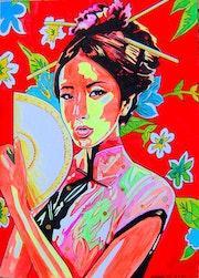 Geisha III. - Japanese style female portrait - acrylic painting on paper. Norbert Szük