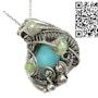 Peruvian Blue Opal Wire-Wrapped Pendant with Ethiopian Welo Opals. Heather Jordan Jewelry